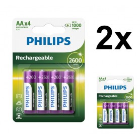 PHILIPS - Philips MultiLife 1.2V AA/HR6 2600mah NiMh rechargeable battery - Size AA - BS050-2x www.NedRo.us