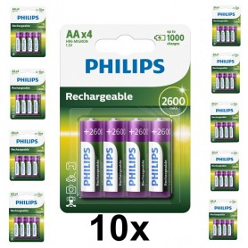 PHILIPS - Philips MultiLife 1.2V AA/HR6 2600mah NiMh rechargeable battery - Size AA - BS050-10x www.NedRo.us