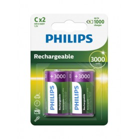 PHILIPS, Philips MultiLife 1.2V C/HR14 3000mah NiMh oplaadbare batterij, C D en XL formaat, BS052-CB, EtronixCenter.com