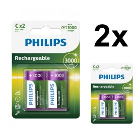 PHILIPS - Philips MultiLife 1.2V C/HR14 3000mah NiMh rechargeable battery - Size C D and XL - BS052-2x www.NedRo.us