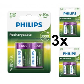 PHILIPS - Philips MultiLife 1.2V C/HR14 3000mah NiMh rechargeable battery - Size C D and XL - BS052-3x www.NedRo.us
