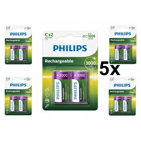 PHILIPS - Philips MultiLife 1.2V C/HR14 3000mah NiMh rechargeable battery - Size C D and XL - BS052-5x www.NedRo.us