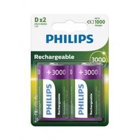 PHILIPS, Philips MultiLife 1.2V D / HR20 3000mAh NiMh oplaadbare batterij, C D en XL formaat, BS053-CB, EtronixCenter.com