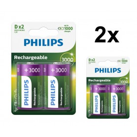 PHILIPS - Philips MultiLife 1.2V D / HR20 3000mAh NiMh rechargeable battery - Size C D and XL - BS053-2x www.NedRo.us