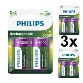 PHILIPS - Philips MultiLife 1.2V D / HR20 3000mAh NiMh rechargeable battery - Size C D and XL - BS053-3x www.NedRo.us