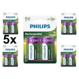 PHILIPS - Philips MultiLife 1.2V D / HR20 3000mAh NiMh rechargeable battery - Size C D and XL - BS053-CB www.NedRo.us