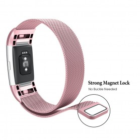 NedRo - Metalen armband voor Fitbit Charge 2 magneet slot - Armbanden - AL188-PI-L www.NedRo.nl