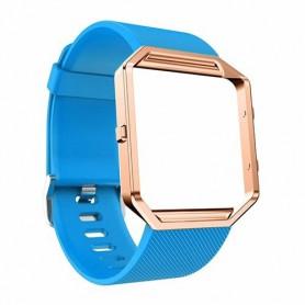 NedRo - TPU Siliconen armband voor Fitbit Blaze inclusief metalen behuizing - Armbanden - AL206-BU-L www.NedRo.nl