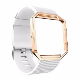 NedRo - TPU Siliconen armband voor Fitbit Blaze inclusief metalen behuizing - Armbanden - AL206-WH-L www.NedRo.nl