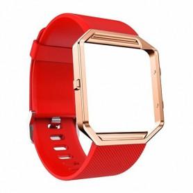 NedRo - TPU Siliconen armband voor Fitbit Blaze inclusief metalen behuizing - Armbanden - AL206-RE-L www.NedRo.nl
