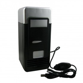 NedRo, Mini frigider negru si gri pentru birou cu alimentare USB, Gadget-uri computer, YPU801-1, EtronixCenter.com