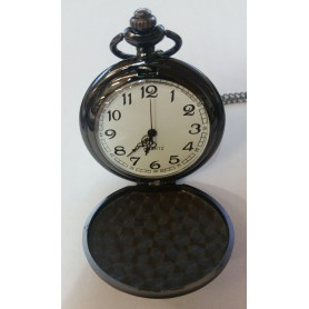 Fantastic Vintage Black Mirror Polished Quartz Pocket Watch AL066