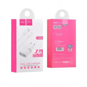 HOCO - Hoco Duo Premium Lightning 2.4A charger adapter for Apple iPhone - Ac charger - H012-WH www.NedRo.us