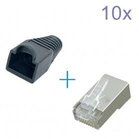 RJ45 Set Connector - conectori + protectoare cauciuc
