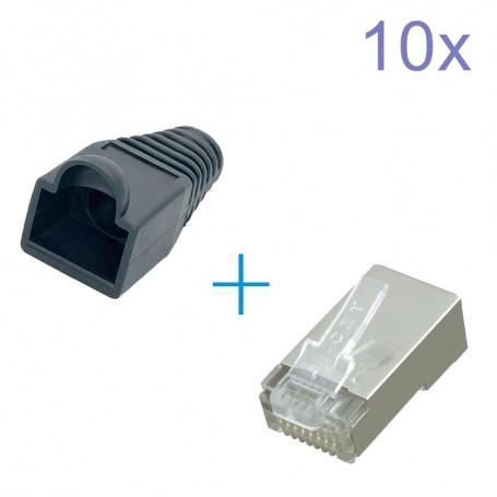 NedRo, RJ45 Set Connector - conectori + protectoare cauciuc, Adaptoare retea, YNK301-CB, EtronixCenter.com