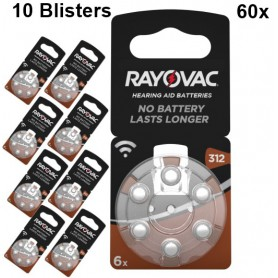 Rayovac - Rayovac Acoustic HA312 / 312 / PR41 / ZL3 180mAh 1.4V Hearing Aid Battery - Button cells - BS081-10x www.NedRo.us