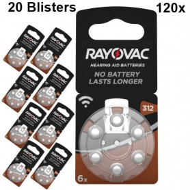 Rayovac - Rayovac Acoustic HA312 / 312 / PR41 / ZL3 180mAh 1.4V Hearing Aid Battery - Button cells - BS081-20x www.NedRo.us