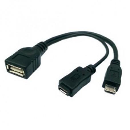 NedRo - Micro USB F+M OTG Host USB F Kabel Splitter Zwart AL679 - USB adapters - AL679 www.NedRo.nl