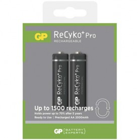 GP, Duo GP R6/AA ReCyko+ PRO 2000mAh 1.2V NiMH Rechargeable Batteries, Size AA, BS123-CB, EtronixCenter.com