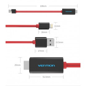 Vention - VENTION PREMIUM HDMI adaptor pentru iPhone 7 7 Plus 6s 6s Plus iPad - iPhone cabluri de date  - V035 www.NedRo.ro