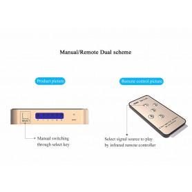 Vention, 4K 3D 1080P Switch HDMI 5 IN 1 OUT cu telecomandă, HDMI adaptoare, V044, EtronixCenter.com