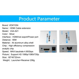 Vention, Double Vention 60 M HDMI Ethernet Extender TX met Launcher-ontvanger Cat5 / 6 RJ45 HD 1080p / 1080i / 720p, HDMI ada...