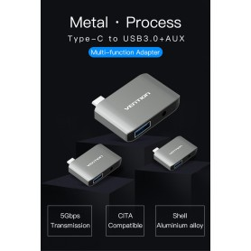 Vention, USB-C C Type USB C To USB 3.0 + AUX Female Adapter, Audio adapters, V050, EtronixCenter.com