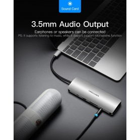 Vention, All in One USB-C C Type USB C To RJ45/HDMI/Audio 3.5mm/USB 3.0 /USB-C/TF/SD Female Adapter, USB adapters, V053, Etro...