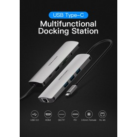 Vention - All in One USB-C C Type USB C naar RJ45/HDMI/Audio 3.5mm/USB 3.0 /USB-C/TF/SD Female Adapter - USB adapters - V053 ...