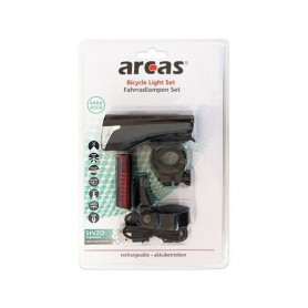arcas - Arcas bicycle lighting set with built-in 3.7V Li-polymer batteries + USB charging cable - Flashlights - BS144 www.Ned...