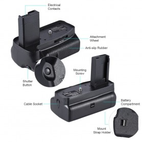 NedRo - Grip baterie compatibil cu Canon EOS 1100D 1200D 1300D / Rebel T3 T5 T6 DSLR - Canon încărcătoare foto-video - AL1103...