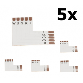 Oem - 10mm 5-Pin L PCB Connector for RGB SMD5050 LED strips - LED connectors - LSC032-CB
