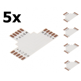 NedRo - 10mm 5-Pin T PCB Connector for RGB SMD5050 LED strips - LED connectors - LSC033-CB www.NedRo.us
