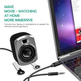 Wofalo - Cablu audio Wofalo Car Aux, 2 in 1 Tip C până la 3,5 mm tată - 3,5 mm tată - Cabluri audio - AL1015 www.NedRo.ro