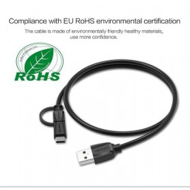 Vention - USB2.0 A Male to Micro USB B Male Cable with Type-C Adapter - USB to USB C cables - V077 www.NedRo.us
