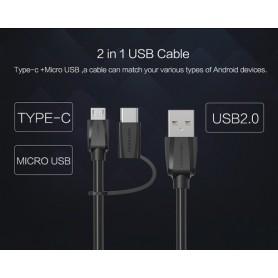 Vention - 2in1 USB Male naar Micro-USB Male met Type-C Adapter - USB naar USB C kabels - V077 www.NedRo.nl