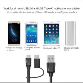 Vention, 2in1 USB Male naar Micro-USB Male met Type-C Adapter, USB naar USB C kabels, V077, EtronixCenter.com