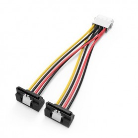 Vention, 4-pin power supply to 2x Right Angle 15Pin SATA Female cable splitter adapter converter, Molex and Sata Cables, V079