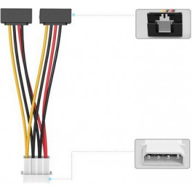 Vention - 4-Pin voeding naar 2x Haakse 15Pin SATA Female kabel splitter adapter converter - Molex en Sata kabels - V079 www.N...