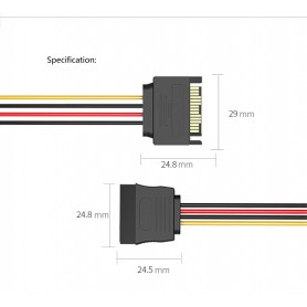 Vention, 15-Pin Male to Female SATA hard disc cable power supply extension, Molex and Sata Cables, V080, EtronixCenter.com