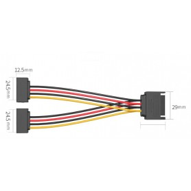 Vention, SATA 15-pins 1 Male naar 2 Female harde schijf verlengkabel 0,15M, Molex en Sata kabels, V081, EtronixCenter.com