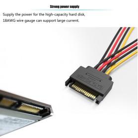 Vention, Cablu prelungitor SATA 15-Pin 1 Male la 2 Female 0.15M, Cabluri Molex și Sata, V081, EtronixCenter.com
