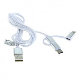 OTB, Data Cable 3in1 - iPhone / Micro-USB / USB-C - Nylon - 1.0M, iPhone data cables , ON6019, EtronixCenter.com