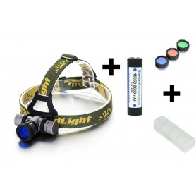 NedRo, 300-700Lm CREE XPE Wit Rood Blauw Groen LED hoofdlamp met Accu, Zaklampen, HLP02, EtronixCenter.com