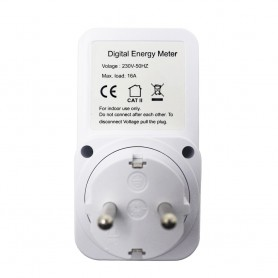 Calex, Wattmetru digital cu afișaj LCD AC 230V 16A 3680W, Mufe și adaptoare, AL1033, EtronixCenter.com