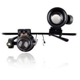 NedRo - Ochelari lupă cu lumină LED pentru reparații 20x-Zoom (mărire ) - Lupe și Microscoape - AL1042 www.NedRo.ro