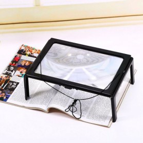 NedRo - A4 Full Page Large Magnifier 3X Foldable Magnifying Glass Loupe Hands for Reading magnifying glass LED - Magnifiers m...