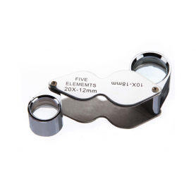 10x-18mm and 20x-12mm Silver Mini Jewelry Loupe Magnifier Glass