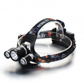 Boruit, 3000Lm XML-T6 2x XML-U2 LED hoofdlamp met 2x 18650 Accu`s en oplader, Zaklampen, HLP01+2x-NK217, EtronixCenter.com