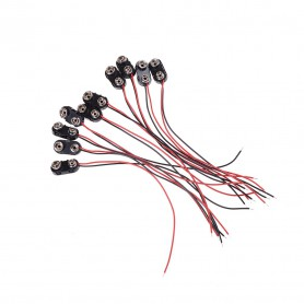 NedRo - 10 pieces 9V Battery clip with two wires - Battery accessories - AL1036 www.NedRo.us